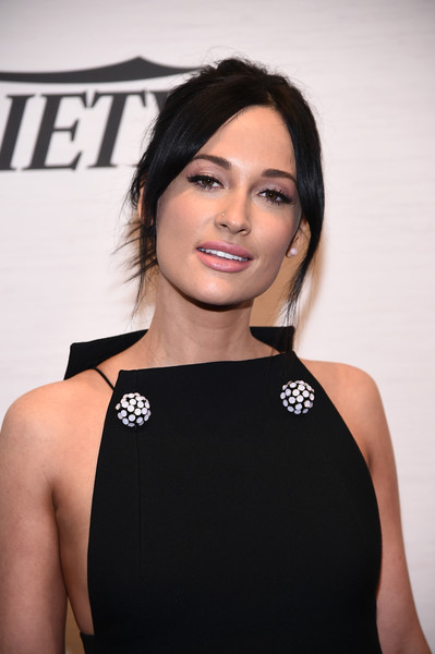 Kacey Musgraves Messy Updo [hair,face,shoulder,hairstyle,beauty,eyebrow,little black dress,dress,black hair,brown hair,kacey musgraves,power of women: new york,variety,new york city,cipriani midtown]
