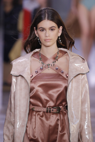 Kaia Gerber Leather Belt [fashion model,fashion,hair,face,fashion show,skin,head,beauty,hairstyle,lady,kaia gerber,bottega veneta - runway,runway,milan,italy,bottega veneta,milan fashion week,show,milan fashion week spring]