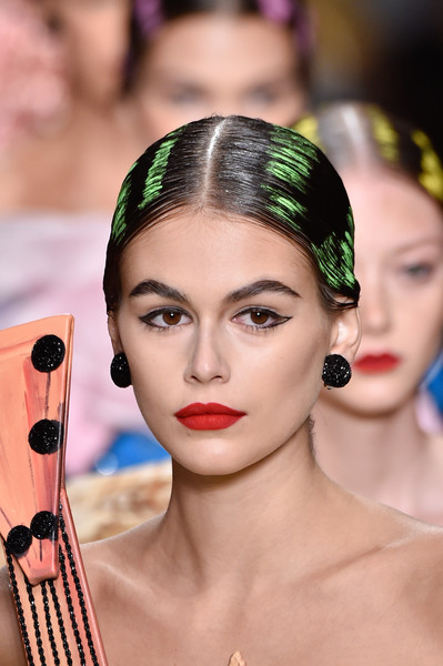 Kaia Gerber Dangle Decorative Earrings [hair,face,eyebrow,lip,beauty,hairstyle,skin,eyelash,head,headpiece,kaia gerber,moschino - runway,runway,milan,italy,moschino,milan fashion week,show,milan fashion week spring]