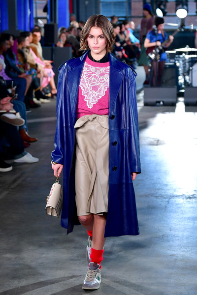 Kaia Gerber Knee Length Skirt [fashion show,fashion,fashion model,clothing,runway,street fashion,electric blue,cobalt blue,outerwear,event,coach,kaia gerber,coach 1941,runway,new york city,new york fashion week,fashion show,kaia jordan gerber,runway,new york fashion week,fashion,fashion show,model,chanel,british fashion award for international model,the fashion awards,fashion week]