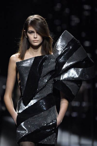 Kaia Gerber Sequin Dress [fashion model,fashion,clothing,beauty,fashion show,model,haute couture,runway,shoulder,fashion design,kaia gerber,part,runway,paris,france,saint laurent,saint laurent : runway - paris fashion week womenswear fall]