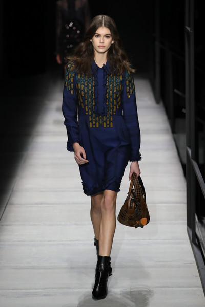 Kaia Gerber Leather Purse [fashion show,fashion model,runway,fashion,clothing,footwear,electric blue,public event,fashion design,outerwear,winter 2018 collection,kaia gerber,bottega veneta - runway,runway,new york city,american stock exchange,bottega veneta fall,new york fashion week]
