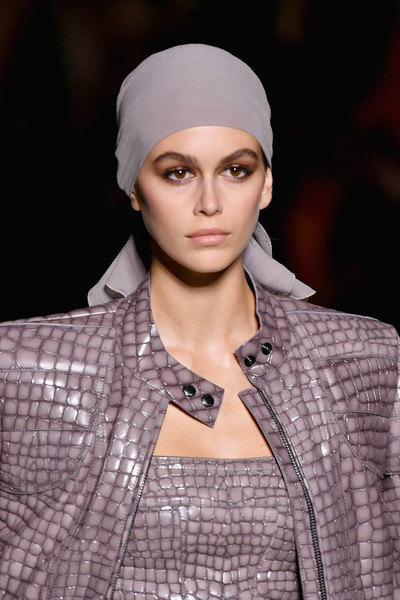 Kaia Gerber Head Scarf [clothing,fashion,beanie,fashion model,beauty,lip,eyebrow,skin,turban,runway,tom ford,kaia gerber,tom ford - runway,runway,new york city,park avenue armory,new york fashion week,fashion show]