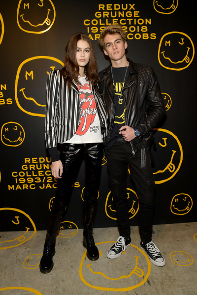 Kaia Gerber Blazer [the marc jacobs redux grunge collection,yellow,event,style,marc jacobs,sofia coppola,katie grand celebrate the marc jacobs redux grunge collection and the opening of marc jacobs madison,presley gerber,kaia gerber,katie grand,marc jacobs madison,new york city,opening]
