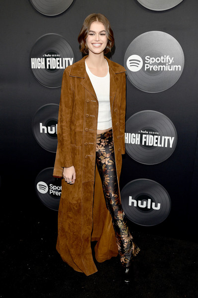 Kaia Gerber Print Pants [clothing,outerwear,fashion,carpet,flooring,dress,red carpet,premiere,suit,formal wear,kaia gerber,high fidelity,new york,the metrograph,premiere,new york premiere,kaia jordan gerber,milan fashion week,fashion,fashion week,fashion show,runway,celebrity,model,supermodel]