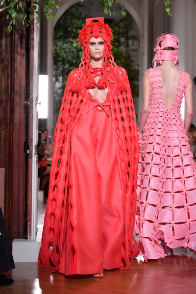 Kaia Gerber Jumpsuit [haute couture fall,fashion,clothing,pink,red,haute couture,dress,costume design,fashion model,gown,fashion design,kaia gerber,part,runway,paris,france,valentino fall,valentino : runway - paris fashion week,paris fashion week,show]