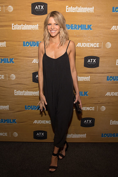 Kaitlin Olson Strappy Sandals [clothing,dress,cocktail dress,little black dress,carpet,shoulder,fashion,footwear,premiere,red carpet,at t original series loudermilk,kaitlin olson,original series ``loudermilk,the market tap room,austin,entertainment weekly,after dark,at t,celebration,atx television festival]