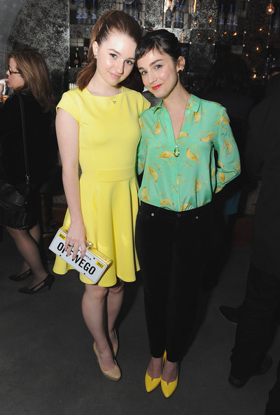 Kaitlyn Dever Printed Clutch [yellow,fashion,fashion design,dress,event,leg,premiere,cocktail dress,style,haute couture,actresses,kaitlyn dever,molly ephraim,stage,rockwell table,california,los angeles,sag foundation launches capital campaign for dales scholarship fund,capital campaign for dales scholarship fund,launch]