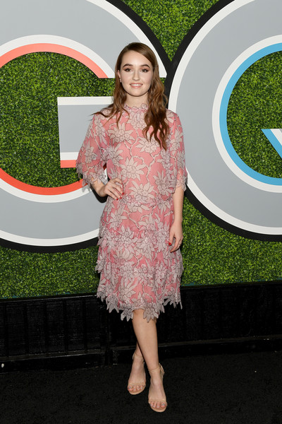 Kaitlyn Dever Print Dress [photo,clothing,dress,green,red carpet,flooring,pink,carpet,cocktail dress,grass,photography,arrivals,kaitlyn dever,caption,chateau marmont,california,los angeles,gq men of the year party,party,gq men of the year]
