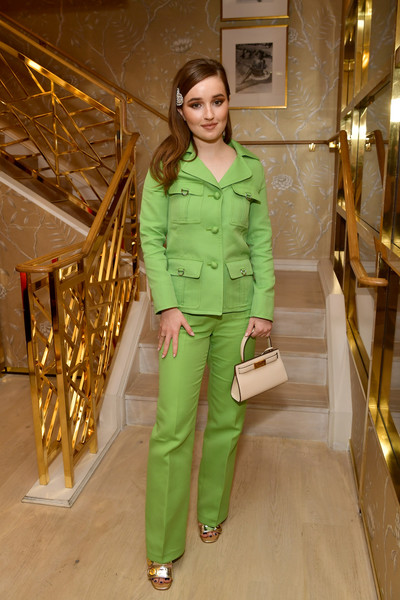 Kaitlyn Dever Leather Purse [clothing,fashion model,green,fashion,outerwear,pantsuit,fashion design,leg,trousers,haute couture,tory burch women to,tory burch women to watch lunch,kaitlyn dever,beverly hills,california,glamour,tory burch rodeo,lunch]