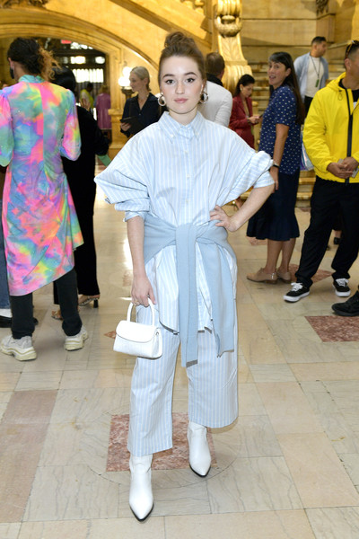 Kaitlyn Dever Button Down Shirt [shows,the shows,fashion,costume,event,fun,smile,sies marjan,kaitlyn dever,sies marjan - front row,front row,new york city,new york fashion week]
