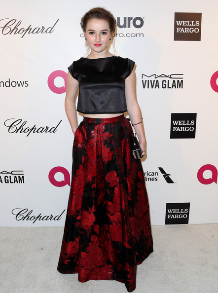 Kaitlyn Dever Crop Top [clothing,dress,shoulder,fashion model,waist,fashion,carpet,a-line,red carpet,hairstyle,kaitlyn dever,elton john aids foundation oscar viewing party,part,california,los angeles,elton john aids foundation,oscar viewing party]
