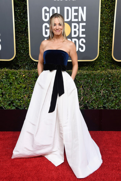 Kaley Cuoco Strapless Dress [red carpet,carpet,dress,clothing,white,gown,fashion,flooring,premiere,hairstyle,arrivals,kaley cuoco,the beverly hilton hotel,beverly hills,california,golden globe awards]