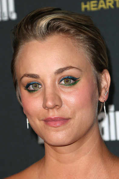 Kaley Cuoco Jewel Tone Eyeshadow [face,hair,eyebrow,hairstyle,chin,forehead,cheek,nose,eyelash,skin,party - arrivals,kaley cuoco,west hollywood,california,fig olive melrose place,entertainment weekly,pre emmy party]