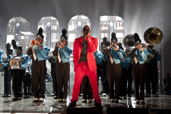 Kanye West Men's Suit [music,brass instrument,performance,musical ensemble,event,musical instrument,performance art,music,musician,wind instrument,musical theatre,kanye west,john legend,common,kid cudi,more,austin,texas,vevo power station,vevo presents: g.o.o.d.]
