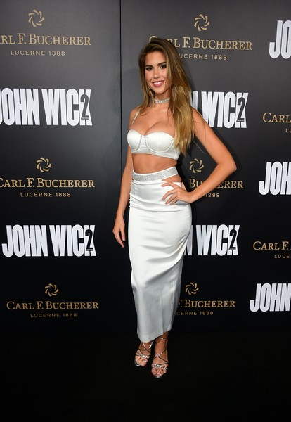 Kara Del Toro Strappy Sandals [john wick: chapter two,clothing,dress,premiere,cocktail dress,shoulder,strapless dress,fashion,joint,waist,fashion model,arrivals,supermodel kara del toro,frederic j. brown,california,hollywood,summit entertainment,afp,arrival,premiere]