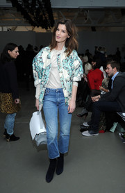 Hanneli Mustaparta looked sporty in a printed zip-up jacket during the Karen Walker fashion show.