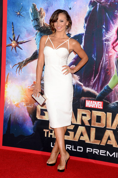 Karina Smirnoff Box Clutch [guardians of the galaxy,clothing,red carpet,dress,premiere,carpet,cocktail dress,flooring,event,performance,long hair,arrivals,karina smirnoff,california,hollywood,dolby theatre,marvel,premiere,premiere]