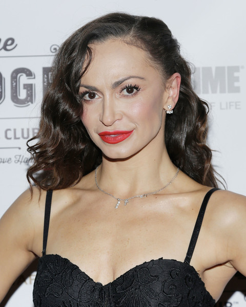 Karina Smirnoff Long Wavy Cut [hair,lip,hairstyle,clothing,shoulder,beauty,brassiere,eyebrow,brown hair,chin,karina smirnoff,lodge social club global love launch,the lodge social club global love launch,new york city,the lodge social club]