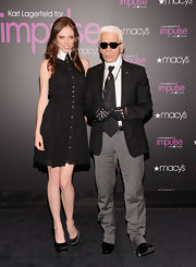 Coco Rocha opted for chic black satin pumps at the Karl Lagerfeld for Macy's event in NYC.