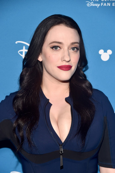 Kat Dennings Long Wavy Cut [hair,face,hairstyle,eyebrow,lip,beauty,black hair,chin,long hair,cheek,kat dennings,disney showcase presentation,wandavision,part,anaheim,calif,disney\u00e2,d23 expo]