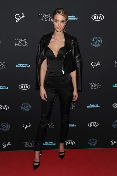 Kate Bock Leather Jacket [sports illustrated,fashion model,little black dress,flooring,fashion,formal wear,catwalk,carpet,outerwear,latex clothing,suit,kate bock,new york city,moxy times square,magic hour,swimsuit 2018,launch event]