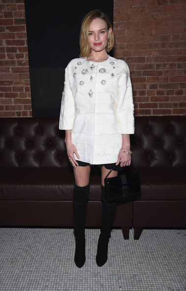 Kate Bosworth Buckled Purse [dom perignon host a screening of sony pictures classics,clothing,white,fashion,footwear,shoulder,knee,fashion model,tights,joint,dress,still alice,dom perignon,kate bosworth,screening,white street restaurant,cinema society with montblanc,the cinema society,montblanc,party]