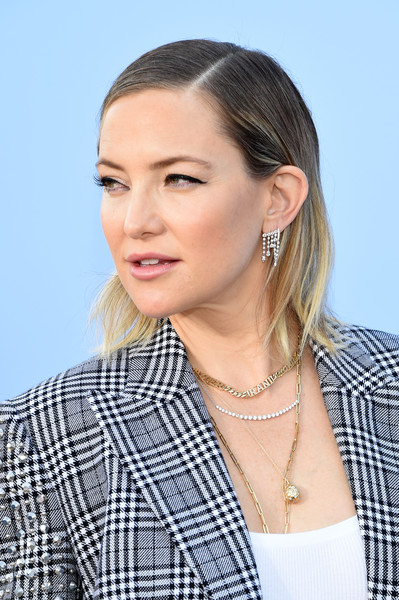 Kate Hudson Gold Pendant [hair,face,hairstyle,eyebrow,ear,chin,beauty,neck,blond,cheek,michael kors collection spring 2020 runway show,backstage,brooklyn city,kate hudson]