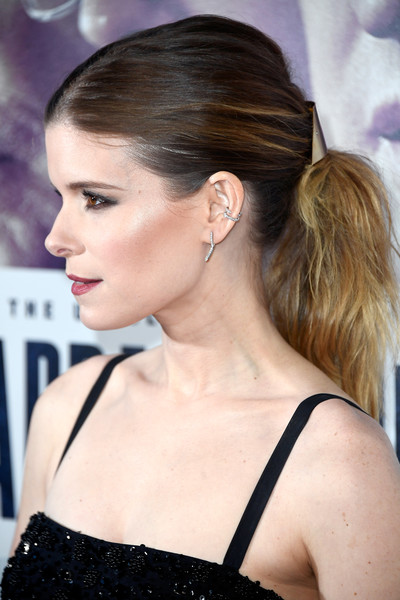 Kate Mara Dangling Diamond Earrings [entertainment studios motion picture,hair,hairstyle,chin,beauty,chignon,shoulder,ear,bun,long hair,blond,arrivals,jewelry,kate mara,detail,hair,chappaquiddick,beverly hills,premiere,premiere]