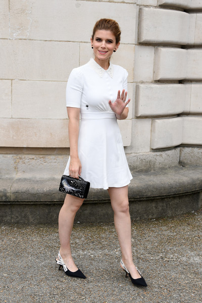 Kate Mara Mini Dress [white,clothing,photograph,street fashion,shoulder,fashion,beauty,dress,footwear,lady,summer 2018,dior homme,kate mara,front row,spring,part,paris,paris fashion week,show,dior homme menswear spring]