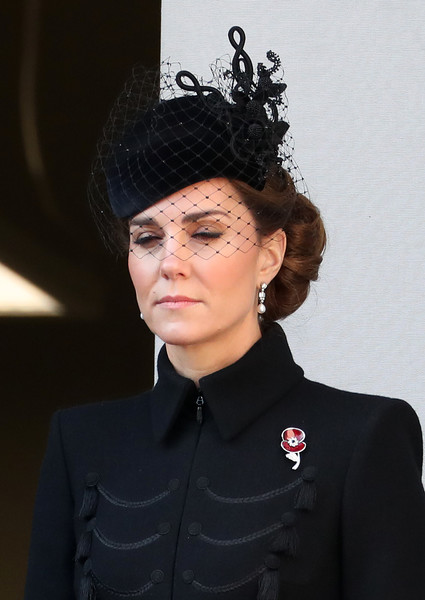 Kate Middleton Decorative Hat [fashion,forehead,official,headgear,black hair,headpiece,fashion accessory,eyewear,hat,uniform,catherine,duchess,memorial,cambridge,london,england,cenotaph service,the cenotaph,remembrance sunday]