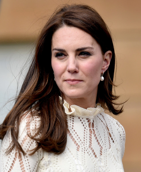 Kate Middleton Long Side Part [hair,face,hairstyle,eyebrow,lady,beauty,chin,lip,fashion,brown hair,catherine,children,duchess,buckingham palace,grounds,cambridge,england,party,forces,tea party]