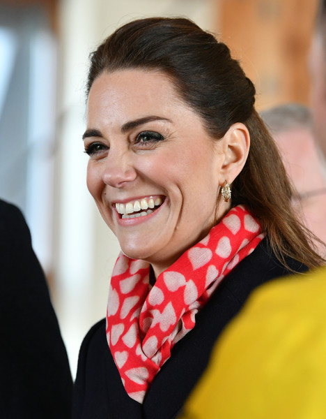 Kate Middleton Patterned Scarf [mumbles lifeboat station,hair,face,facial expression,lip,eyebrow,smile,beauty,hairstyle,chin,scarf,duke,catherine,duchess,south wales,duchess of cambridge,cambridge,rnli,visit,visit,catherine duchess of cambridge,william catherine: a royal romance,london,duke of cambridge,duke,family of catherine duchess of cambridge,stock photography,photograph,prince of wales]