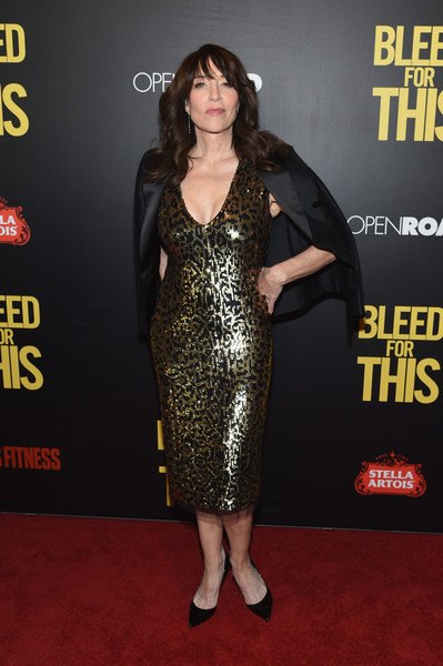Katey Sagal Blazer [mens fitness host the premiere of bleed for this,bleed for this,red carpet,carpet,clothing,dress,premiere,little black dress,flooring,cocktail dress,footwear,fashion model,katey sagal,host,open road,amc lincoln square theater,new york city,mens fitness,premiere]