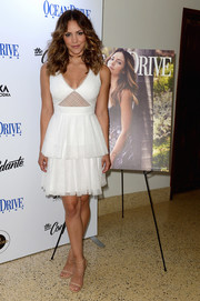 Katharine McPhee finished off her look with nude ankle-strap sandals by Jimmy Choo.