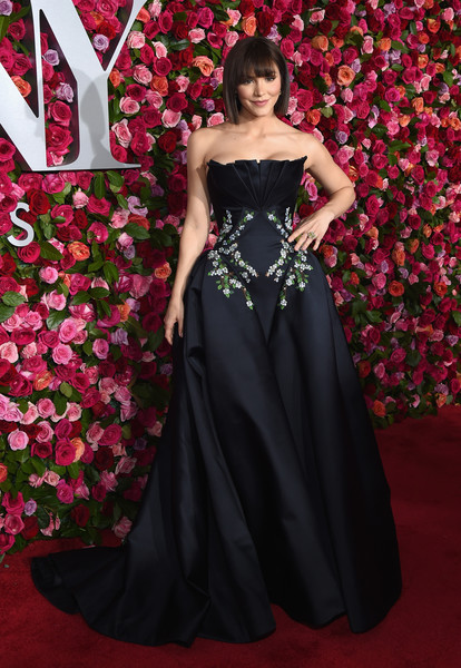 Katharine McPhee Strapless Dress [red carpet,gown,dress,clothing,red carpet,carpet,strapless dress,flooring,red,fashion model,haute couture,katherine mcphee,tony awards,radio city music hall,new york city,annual tony awards]