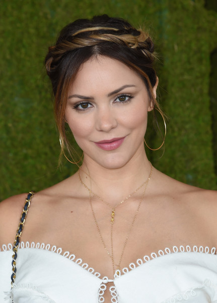 Katharine McPhee Braided Updo [photo,hair,face,hairstyle,eyebrow,lady,beauty,lip,chin,brown hair,forehead,arrivals,kat mcphee,chris delmas,will rogers state historic park,pacific palisades,veuve clicquot polo classic]