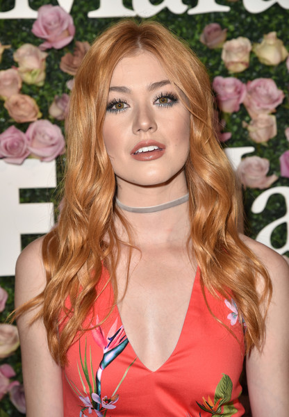 Katherine McNamara Long Wavy Cut [max mara celebrates zoey deutch,the 2017 women in film max mara face of the future,katherine mcnamara,hair,blond,face,hairstyle,beauty,pink,long hair,eyebrow,lip,brown hair,chateau marmont,california,los angeles]
