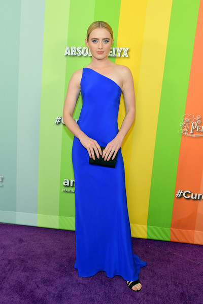 Kathryn Newton Satin Clutch [dress,cobalt blue,clothing,shoulder,carpet,red carpet,yellow,electric blue,gown,cocktail dress,arrivals,kathryn newton,los angeles,california,amfar,milk studios,amfar gala]