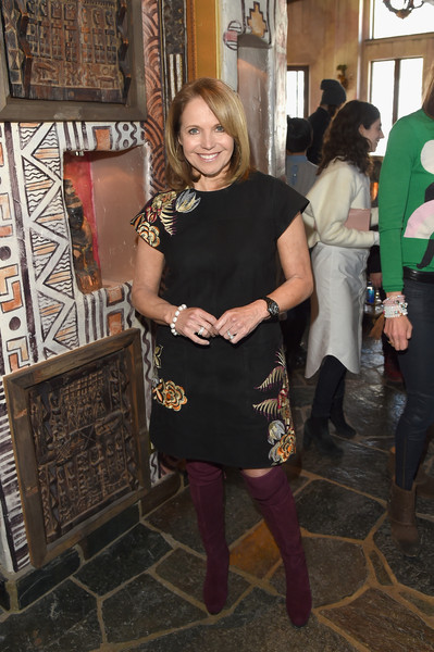 Katie Couric Leather Dress