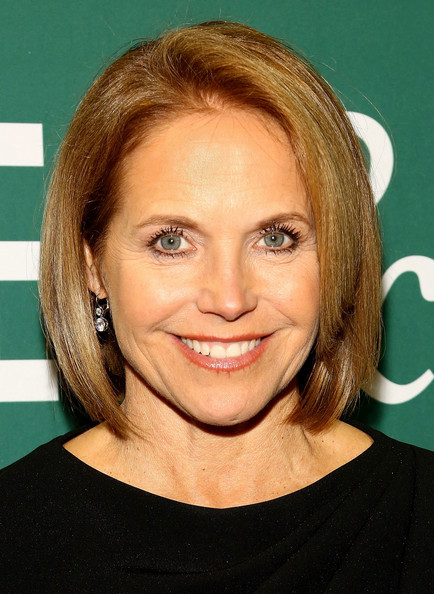 Katie Couric Bob [book,thrive: the third metric to redefining success and creating a life of well-being,hair,face,hairstyle,blond,eyebrow,chin,forehead,layered hair,brown hair,hair coloring,arianna huffington,katie couric,wisdom,wonder,barnes noble union square,new york city]