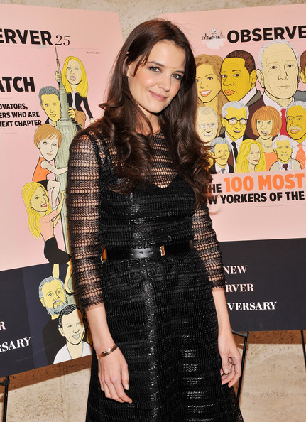 Katie Holmes Leather Belt [clothing,dress,yellow,fashion,premiere,magazine,fashion design,cocktail dress,little black dress,long hair,katie holmes,new york city,four seasons restaurant,new york observer 25th anniversary party,the new york observer 25th anniversary party]