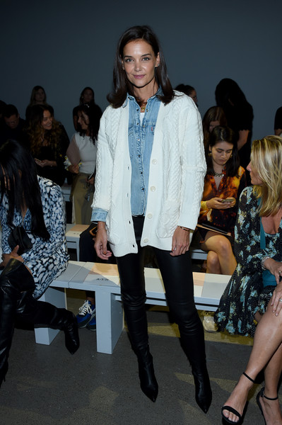 Katie Holmes Ankle Boots [shows,fashion,clothing,fashion show,fashion model,fashion design,event,footwear,street fashion,runway,outerwear,elie tahari,ellie tahari,katie holmes,front row,front row,new york city,spring studios,the showsat gallery ii,new york fashion week]