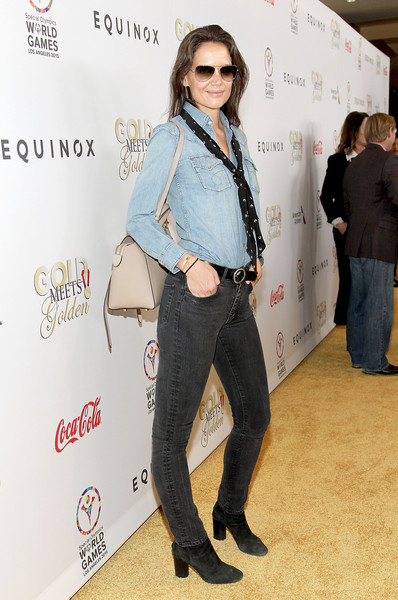 Katie Holmes Ankle Boots [clothing,jeans,denim,fashion,footwear,shoulder,eyewear,leg,fashion design,trousers,katie holmes,california,los angeles,cw3pr presents gold meets golden at equinox sports club,equinox sports club,gold meets golden]