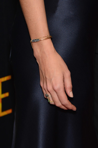 Katie Holmes Bangle Bracelet [touched with fire,hand,finger,yellow,nail,bracelet,jewellery,ring,fashion accessory,arm,bangle,katie holmes,fashion detail,new york,walter reade theater,premiere,premiere]