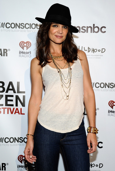 Katie Holmes Cuff Bracelet [clothing,shoulder,hat,long hair,headgear,fedora,fashion accessory,neck,fashion model,muscle,vip lounge,katie holmes,poverty,lounge,central park,new york city,global citizen festival in central park to end extreme poverty]