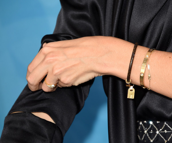 Katie Holmes Leather Bracelet [wrist,leather,hand,finger,arm,bracelet,fashion accessory,jewellery,bangle,textile,arrivals,katie holmes,stylemakers,stylemakers,jewelry detail,variety,wwd,wwd and variety,event,event]