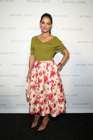 Katie Holmes Full Skirt [clothing,yellow,shoulder,dress,pink,fashion,footwear,waist,cocktail dress,fashion model,katie holmes,michael kors,mercedes-benz fashion week,fashion show,michael kors - backstage,lincoln center,new york city,the theatre]