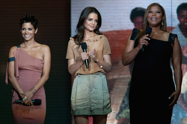 Katie Holmes Ruffle Blouse [oprah,fashion,event,fashion design,dress,photography,performance,model,style,latifah,halle berry,katie holmes,a farewell spectacular,chicago,illinois,united center,surprise]