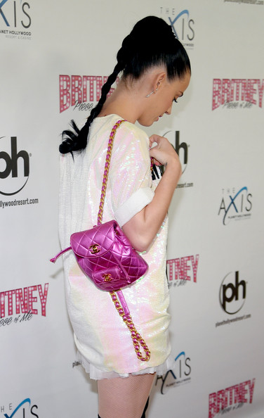 Katy Perry Designer Backpack [britney: piece of me,britney spears show,shoulder,clothing,skin,hairstyle,joint,pink,fashion,dress,leg,cocktail dress,katy perry,britney spears,nevada,las vegas,planet hollywood resort casino,grand opening,grand opening]